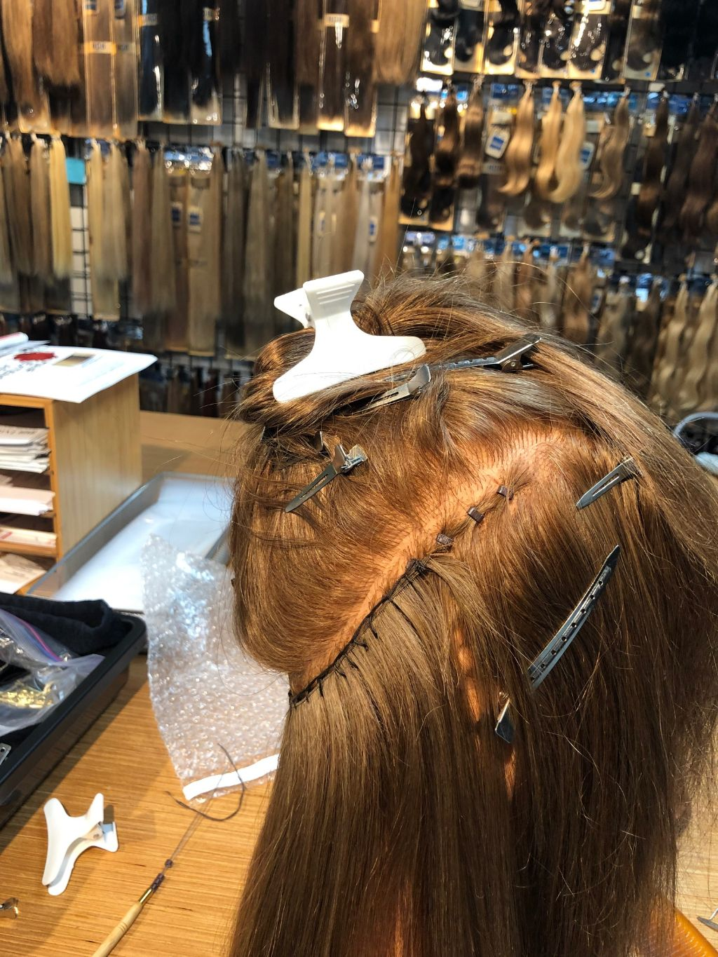 Ending a beaded row hair extension